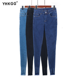 0de51950c7d YHKGG 2018 новый ультра тонкий эластичный высокой талией тощий стрейч джинсы  женщины ретро синий карандаш девушки брюки плюс размер Женские джинсы  S18101601