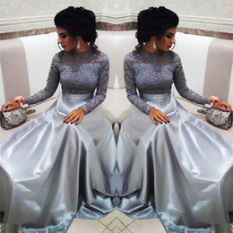 mother groom dresses jewel neck Australia - Long Sleeves silver gray Mother of the Bride Groom Dresses 2019 Jewel Neck Plus Size Vintage nigerian Lace Long Formal Evening Party Wear