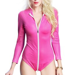 $enCountryForm.capitalKeyWord NZ - New Women Sexy Shiny Bodysuit Erotic Fetish Faux Leather Wet-look Jumpsuit Rompers Women's Long Sleeve Zipper Leotard Clubwear