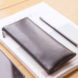 $enCountryForm.capitalKeyWord Australia - Korean Stationery Creative Soft Leather Pencil Case Simple Pencil Box Black Pen Bag Storage Kids Gift Office School Supplies