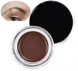Vente en gros Pommade de haute qualité parfaite Brun moyen Etanche 10 couleurs Blonde / Chocolat / Brun foncé / Ebène / Auburn / Brun Moyen / EBONY Maquillage Sourcils 4g