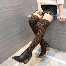 Wholesale 2018 Fashion luxury designer womens boots F brand womens thigh high boots ladies winter sexy over the knee Stretch knitting sock boots