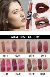 Lipstick 24 Hours Australia - MK Brand 24 Hours Waterproof Long Lasting Double Head Liquid Lip Gloss Moisturizer Lipstick Glitter Shimmer Matte Lipstick