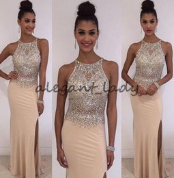 Champagne Mermaid strass Prom Dresses 2018 Sparkly Shiny Beaded Crew Full length Tromba Plus Size Occasioni Abito da sera