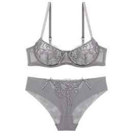 c55820c478 Woman Elegant Sexy Embroidery Gray Underwire Bra Set Underwear Female Push  Up Simple Luxurious Lingerie Set