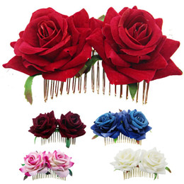 rose hair comb UK - 1Pcs White Red Rose Flower Hair Combs for Bridal Fashion Handmade Wedding Jewelry Women Prom Headpiece Charm Hair Accessories