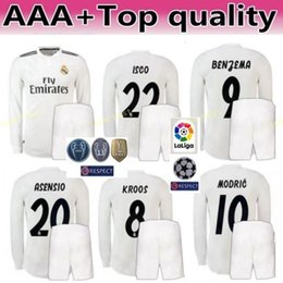 80dbf8719 2018 2019 La Liga Soccer Long Sleeve Real Madrid ASENSIO Jersey Set Men  RAMOS MODRIC ISCO BENZEMA KROOS MARCELO Football Shirt Kits Uniform