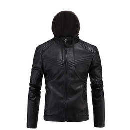 mens vintage leather motorcycle jackets Canada - New Retro Vintage Motorcycle Jacket Mens PU Leather Moto Jackets With Hooded Slim Fit Jackets Biker Clasic Quilted Coats Clothes