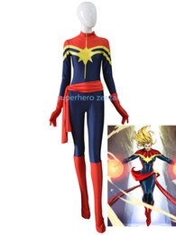 $enCountryForm.capitalKeyWord UK - Royal Blue Women Ms. Captain Marvel Carol Danvers Superhero Costume For 2018 Halloween Cosplay Costumes Zentai bodySuit
