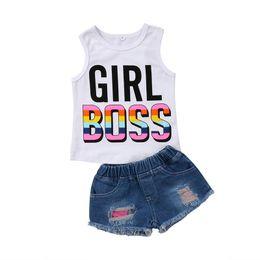 79a3e6aa2 New Summer Toddler Kids Girl Sleeveless GIRL BOSS Cotton Vest T-shirt Tops+Denim  Shorts Hot Pant Jean 2PCS Outfit Clothing Set