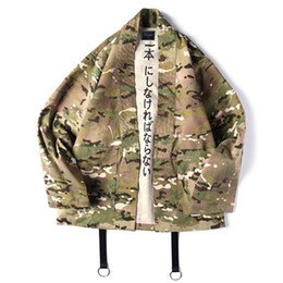 Wholesale japanese style jackets men resale online – Japanese Style Camouflage Men Jackets Open Stitch Kimono Cotton Hip Hop Streetwear Male Fashion Jacket Outwear