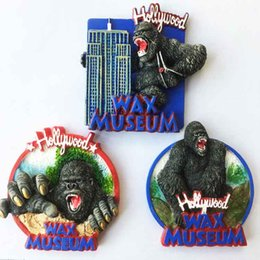 Discount wholesale sticker king - U.S. Hollywood wax museum tourist souvenirs stereo King Kong fridge magnet Gorilla soft magnetic