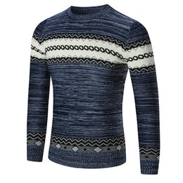 Wholesale metrosexual sweater resale online – 2018 tops autumn winter men s casual Metrosexual Sweater men Chinese style slim pullovers O neck Geometric pattern sweater S XXL