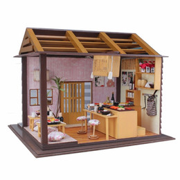 unisex wood toy Australia - Hoomeda DIY Wood Dollhouse Miniature Doll Toys With LED Furniture Cover Sushi Bar Japanese Style Home Decoration Gift