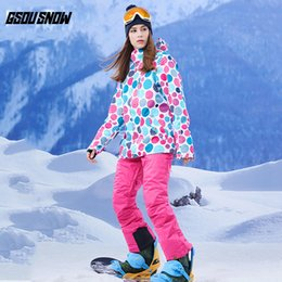 woman s ski suit Australia - GSOU SNOW Brand Ski Suit Women Ski Jackets Snowboard Pants Winter Skiing Snowboarding Suit Ladies Winter Snowboard Set Snow Coat