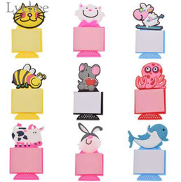 Wholesale Lychee Kawaii Animal Design Note Paper Fridge Magnet Lovely Cat Refrigerator Magnet Home Kitchen Decoration