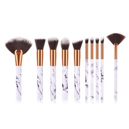 Style Facial Hair Australia - 10PCS Makeup Brushes Set Marbel Style FAN Brush High Quality Plastic Handle Synthetic Hair Microbrush Facial Use Brushes Set T10143