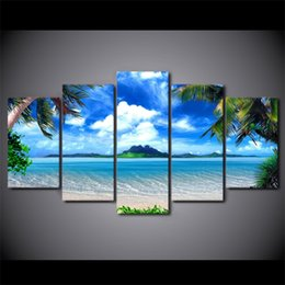 Blue Print Pictures NZ - 5 Pieces Set HD Modern Canvas Wall Painting Beach blue palm trees Home Decor Picture Poster Prints Artworks