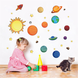 Removable wall stickeRs foR childRen online shopping - Lovely Children Room Background Wall Sticker Solar System Star Cartoon Baby Bedroom Stickers Removable Waterproof Eco Friendly yt ff