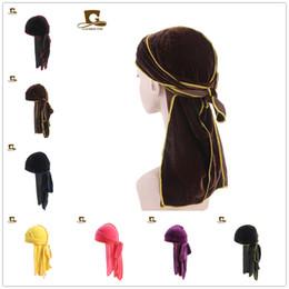 aaf50c1d7e0 Luxury Men Velvet Durags Bandana Turban Hat Wigs Unisex Doo Durag Biker  Headwear du rag Wave Cap Headband Pirate Skull Hat