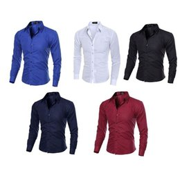 $enCountryForm.capitalKeyWord UK - Plus Size Men Shirts Male Solid Color Turn Down Collar Business Tuxedo Long Sleeve Casual Tops Cotton Dress Shirt