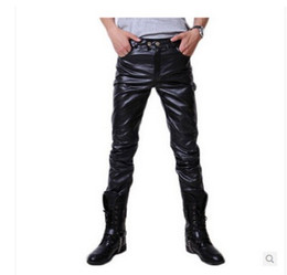 leather tight trouser Australia - Men all-match fashion Tights Pants Slacks locomotive PU leather trousers hot Korean character