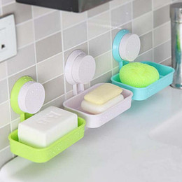 Wholesale Strong Soap Dish Holder Suction Cup Wall Tray Holder Soap Storage Box For Bathroom Shower Tool Perfect Home Decoration