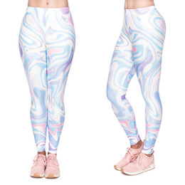 multi color yoga pants Canada - Women Leggings Holographic Color 3D Print Girl Skinny Stretchy Yoga Wear Pants Lady Jeggings Sport Workout Full Length Trousers (YX52061)