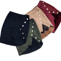 6d009f98184 New fashion Women Ladies High Waist Pencil Skirts button lace patchwork  sexy Bodycon Suede Leather split party casual Mini Skirt