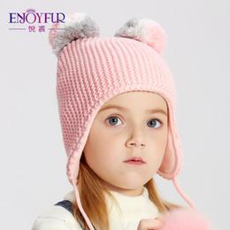 d364ba3a096 Fox Ears Hat Australia - ENJOYFUR Winter Fox Fur Pompom Kids Hats For  Girls Boys Children Cotton
