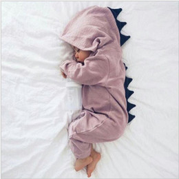 Discount toddlers christmas onesies - Baby Hooded Rompers Toddler Cute 3D Dinosaur Jumpsuits Warm Autumn Cotton Onesies Solid Pink Gray Costume Kids Designer