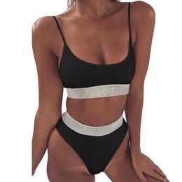 6cb5add195ce5 Solid Push Up Bikini Set Women High Waist Bandage Swimwear Bling Bling Belt  Splicing Bathing Suits Sexy Swimsuit maillot de bain