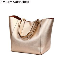 Big Ladies Handbags Canada - SMILEY SUNSHINE split leather shoulder bags fashion female top-handle bags women leather handbags ladies big tote hand bag black