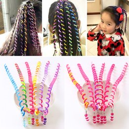 Wholesale 6 Color Girls Hair Twist DIY Tool Stylish Hair Accessories with Beads Multicolor kids fashion curly woven belt hair band B