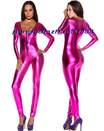 shiny zentai dressing Australia - Sexy Rose Red Shiny Metallic Suit Catsuit Costumes Sexy Women V-Collar Body Suit Costumes Halloween Party Fancy Dress Cosplay Costumes P337