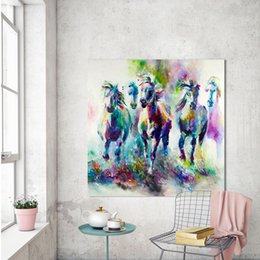 $enCountryForm.capitalKeyWord NZ - Colorful wall decorations The running horses Canvas Material Oil Painting Canvas Prints Wall Art Pictures for Living