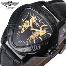 Men Sports Racing Watch Australia - WINNER Automatic Mechanical Men Watch Racing Sports Design Triangle Skeleton Wristwatch Top Brand Luxury Golden Black