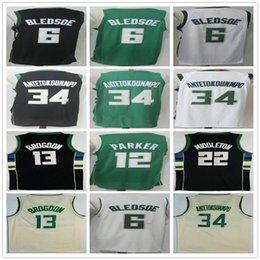 2018 New Style City Edition  34 Giannis Antetokounmpo Jersey Black White  Green 6 Eric Bledsoe 12 Jabari Parker 13 Brogdon Basketball Jerseys acdb55691
