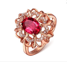 $enCountryForm.capitalKeyWord UK - Red Crystal Golden Flower European Rings Finger Shape Wholesale Fashion for Party Girls Sisters Women 925 Jewelry Sets Love Cheap Prices