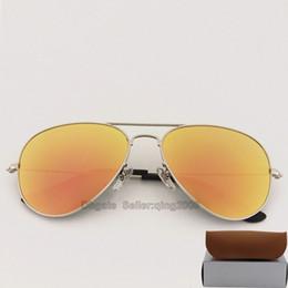 f65afdd07d4ade 10pcs Marke Mens Womens Designer-Sonnenbrille Pilot Sun Glasses  Silber-Rahmen Pink Mirror Bunte Flash-Glaslinsen 58mm mit braunen Fällen