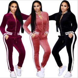 Velvet Jacket Ladies Canada - Ladies Spring autumn Casual Velvet Two-piece Outfits Long Sleeved Jacket Long Pant Womens Fall Sweatsuits Tracksuit