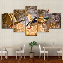 Art Canvas Prints Australia - Modern Modular Pictures Poster Watercolor 5 Pieces Wild Duck Hunting Landscape Canvas Painting HD Print Living Room Decor Wall Art