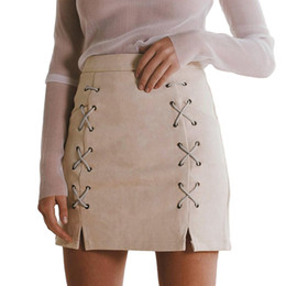 03265ac04316 Green Faux Leather NZ - Autumn Women Lace Up Suede Leather Pencil Skirt Mid  Waist Zipper
