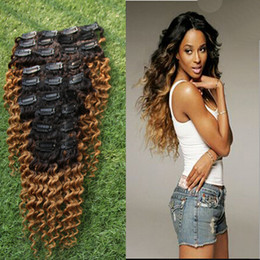 27 pcs human hair extension Canada - 1B 27 Clip In Human Hair Extensions 9 Pcs Set Clips 4B 4C Ombre Hair Clips For Ponatail Afro Kinky Curly Remy Hair