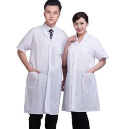 Wholesale Unisex White Lab Coat Short Sleeve Medical Pockets Uniform Doctors Nurses Scientist Summer Work Wear Clothing Solid Long Jacket