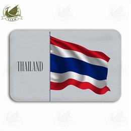$enCountryForm.capitalKeyWord NZ - Vixm Blue Wavy Realistic Flag Of Thailand As A Symbol Welcome Door Mat Rugs Flannel Anti-slip Entrance Indoor Kitchen Bath Carpet