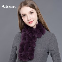 $enCountryForm.capitalKeyWord NZ - Gours Women's Real Fur Scarf High Quality Luxury Big Rex Rabbit Fur Scarves Fashion Brand Thick Warm Winter New Arrival GLWJ003 S18101904