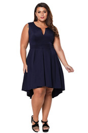 $enCountryForm.capitalKeyWord UK - Large Women Summer A-line Big Dresses 4XL Black Sleeveless V Neck Plus Size High-low Dress Oversized Vestidos Dresses