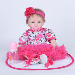 China Lifelike Red Princess Girl Newborn Doll 22 Inch Realistic Silicone Real Touch Newborn Babies Toy With skirt Kids Birthday Xmas Gift suppliers