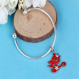 vintage cat charm bracelet Canada - Vintage Silver Enamel Cat Charms Copper Opening Smooth Face Cuff Bracelets Bangles For Women Accessories Fashion Jewelry Gift Bijoux New